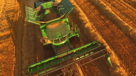 Modern combine in the field. Technologies help in developing business. Stok Fotoğraf - 119520843