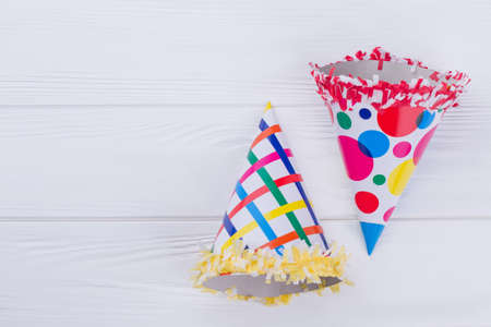 Party cone hats for Birthday celebration. Two Birthday party hats with copy space.
