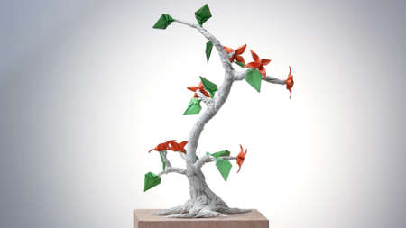 Beautiful origami bonsai. Decorative paper tree with leaves and flowers. Beauty of japanese art. 스톡 콘텐츠