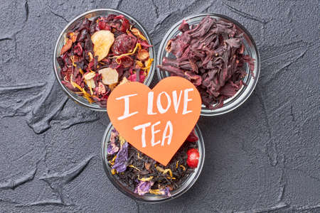 I love tea concept. Creative layout with assorted herbal and floral teas. Healthy drink concept.