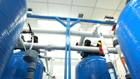 Industrial water filters close up. Purification of drinking water. Water treatment plant. Imagens