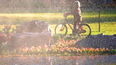Système d'arrosage automatique pour pelouse et fleurs dans le parc de la ville. Enfant à vélo dans le parc par beau temps, vue à travers l'arroseur d'eau.