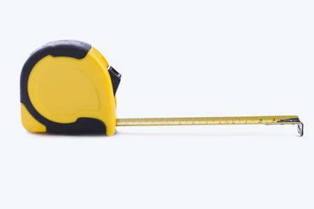Tape-line isolated on white background. Tape measure for construction work. Stock Photo