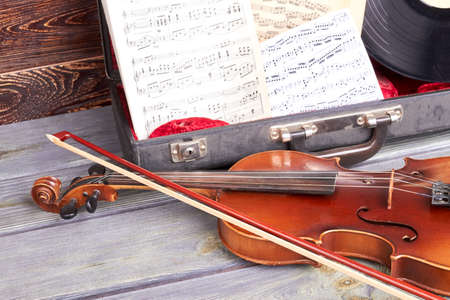 Classical musical instruments close up. Artistic objects musical instruments. Symphonic music background. Stockfoto