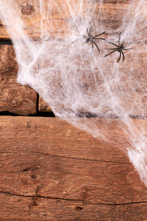 Halloween background with web and spiders. Decorative web with artificial spiders on rustic wood, top view. Quick and easy Halloween decor.