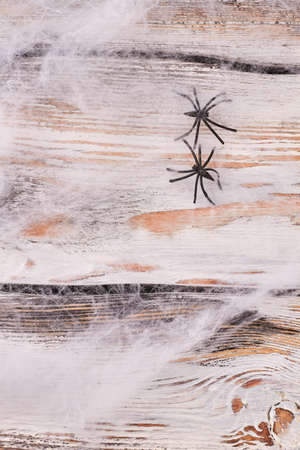 Creepy Web And Spiders On Wooden Background Halloween Background