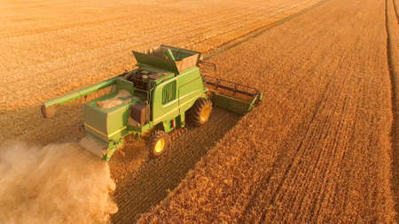 Combine harvester in motion. Start agribusiness from scratch.