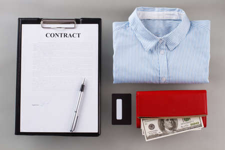 Business card and office shirt. Way to a high-flying person.