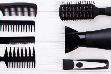 Working tools for hairdresser. Professional barber equipment on the table. Space for text.