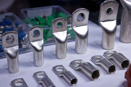Steel machinery components with holes. Close up.