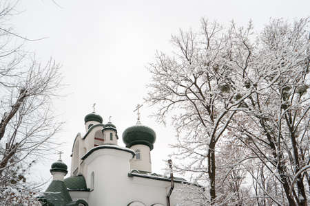 Ortodox slavic church in a winter time over grey sky background. Green domes with crosses. Naked trees covered with snow.