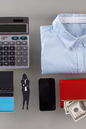 Office stuff and personal things. Self-made woman flatlay. 版權商用圖片