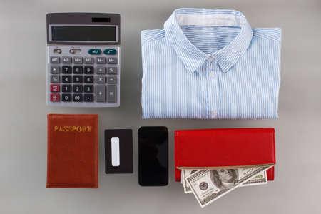 Bank worker set. Shirt and passport, wallet with dollar bills. Business trip planning.