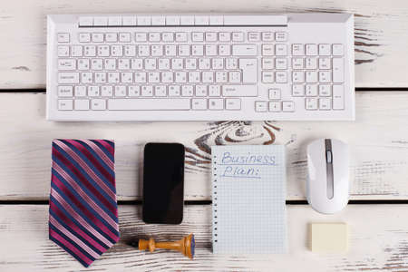 Keyboard, mouse and phone. White collars attributes. Banco de Imagens