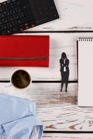 Shirt, coffee and wallet. Little break in working hours. Office concept. 版權商用圖片
