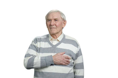 Old man with heart attack. Senior touching chest, white isolated background. Imagens