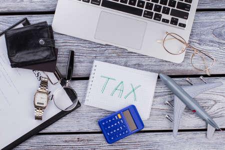 International internet business tax concept. Top view flat lay.