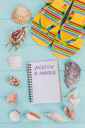 Along the perimeter are different sea shells and bright sandals in the corner on turquoise background. Notebook in the centre of image.
