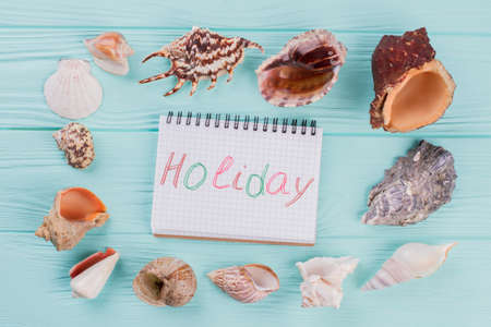 Notepad is surrounded by seashells on the turquoise background. Holiday written on the notepad.