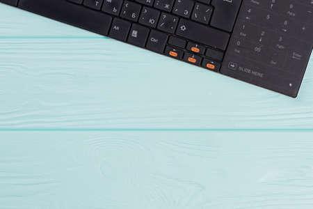 Modern computer keyboard on light blue background. Cyrillic alphabet keyboard layout set. Standard-Bild