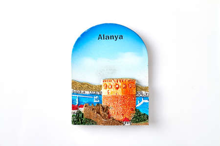 Alanya tourist souvenir. Isolated on white background.