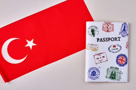 Turkish flag and passport. Turkey tourism concept. Isolated on white background.