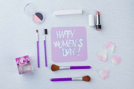 Set of accessories for layout. Womens day concept. Isolated on white background.