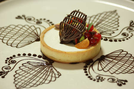 Elegant sweet dessert on beautifully decorated plate. Close up cheesecake served with fruits and chocolate on plate. Food art.