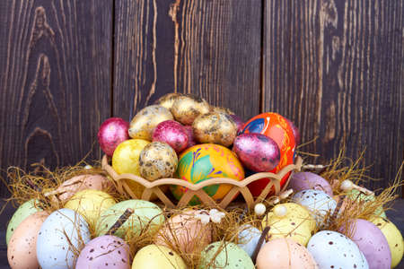 Big pile of colored easter eggs. Stock Photo