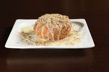 Traditional Turkish dessert of semolina with nuts and condensed milk. Photos for restaurant and cafe menus