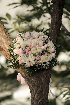 Beautiful wedding bouquet of white and pink roses on a tree Banco de Imagens