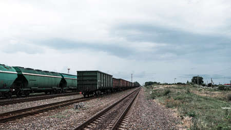 Boxcars in the railway station