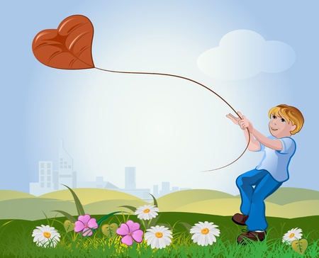 boy with flying kite on the nature background  Vector