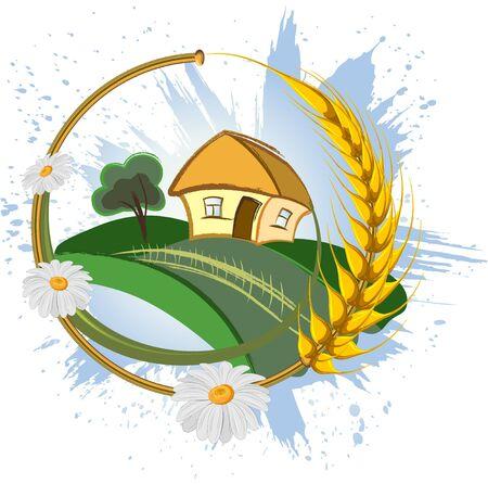centeno: Fondo de agricultura decorativos con espigas de trigo y flores  Vectores
