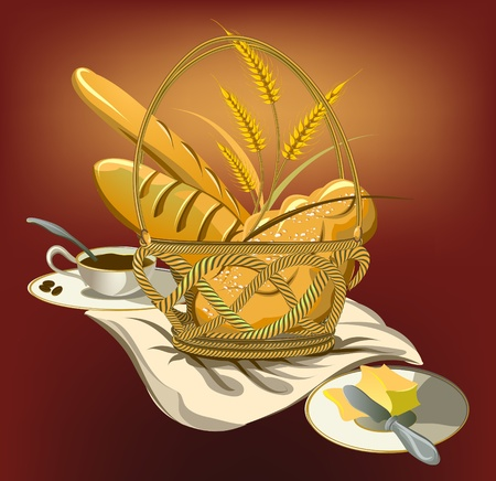 wicker basket: basket with food,bread and coffee cup