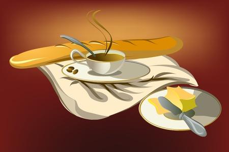 pan con mantequilla: taza de caf� con pan y mantequilla en servilleta rojo  Vectores