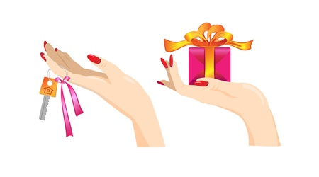 woman hands with key and present  Stock Vector - 9696100