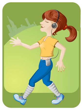 running girl with headphones town on background  Vector