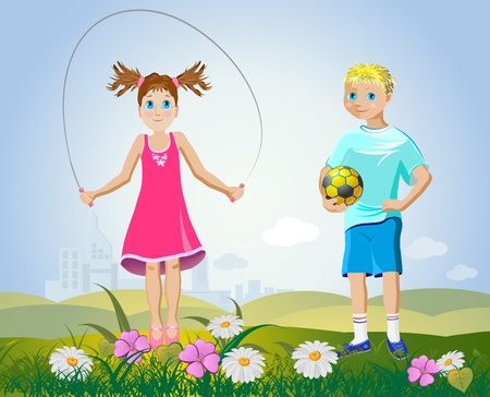 girl and boy with sport accessories Vector