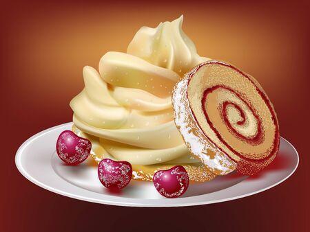 postres: pastel de roll con barry en placa  Vectores