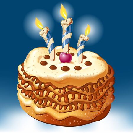 celebrate birthday cake with candles  Illustration