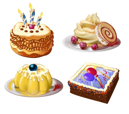 cakes and sweets collection Vector