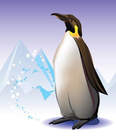 Penguin on the iceberg and snow background Stock Vector - 9696107