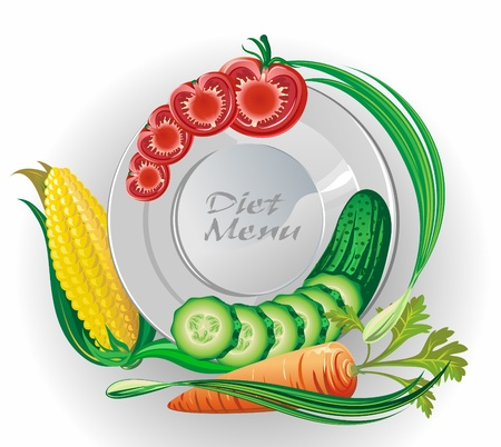 White plate with vegetables  Vector