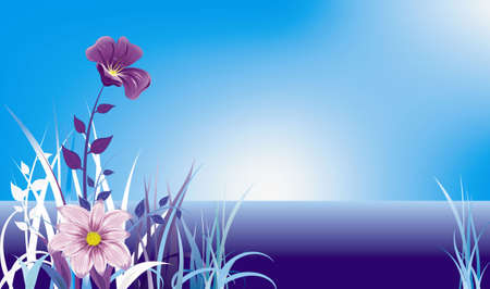 flowers and grass on blue night landscape Stock Vector - 9721933