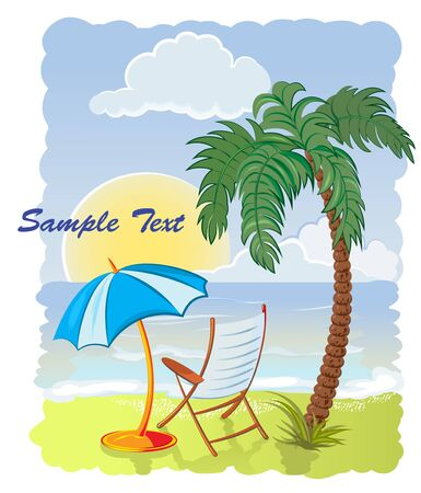 palm tree on the sea beach with umbrella and chair Stock Vector - 9721936