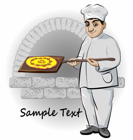koken met een pizza oven op de achtergrond