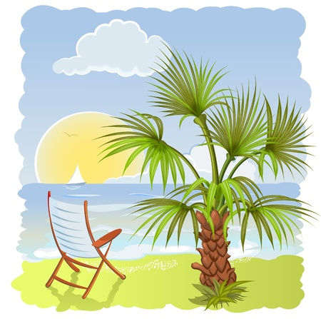 sea beach with palm and chair Illustration