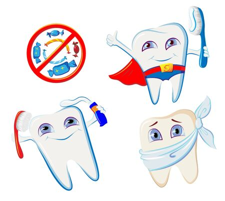 collection of smiling teeth hygiene accessories Ilustrace