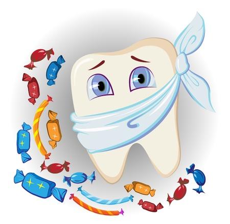 dolor  de diente: dulces y diente doloroso Vectores